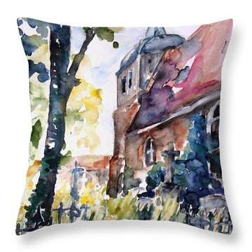 Church Cemetery In Buchholz Throw Pillow by Barbara Pommerenke