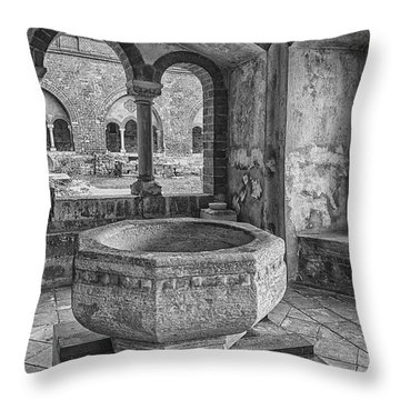 Church Christening Font Throw Pillow by Antony McAulay