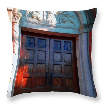 Throw Pillow featuring the photograph Church Door 1 by Becky Lupe