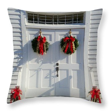 Church Doors At Christmas Throw Pillow by Victor Montgomery