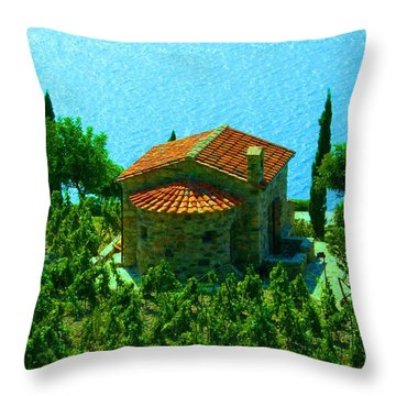 Enchanted Church Between Sea And Nature Throw Pillow