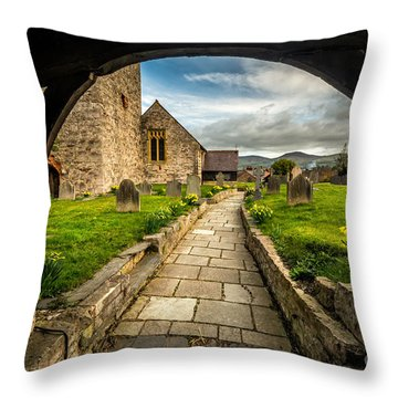 Church Entrance Throw Pillow by Adrian Evans