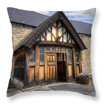 Church Entrance Throw Pillow by Ian Mitchell