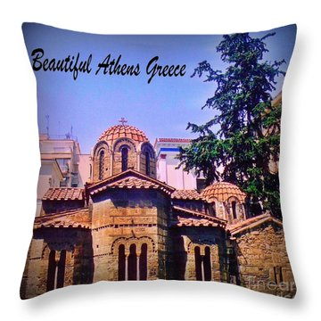 Church In Beautiful Athens Throw Pillow by John Malone