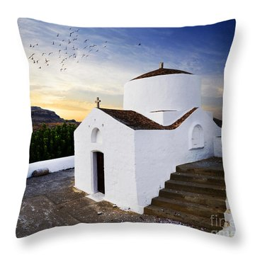 Church In Lindos Rhodes Throw Pillow