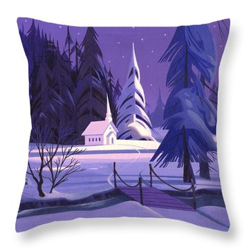Church In Snow Throw Pillow
