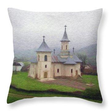 Church In The Mist Throw Pillow