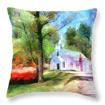 Throw Pillow featuring the painting Church In The Wildwood by Wayne Pascall