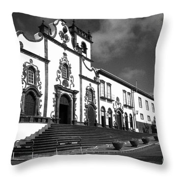 Church In Vila Franca Do Campo Throw Pillow by Gaspar Avila