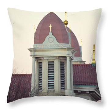 Church Of Gold Crosses Throw Pillow