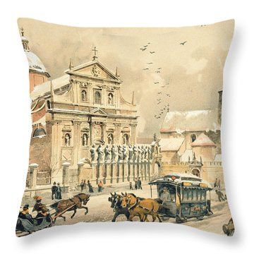 Church Of St Peter And Paul In Krakow Throw Pillow by Stanislawa Kossaka