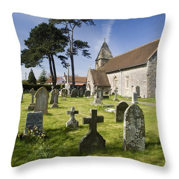 Church Of St John The Evangelist - Kenn - North Somerset Throw Pillow by Rachel Down