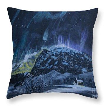Church Of The Aurora Throw Pillow