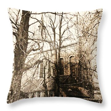 Church On Canal In Brugge Belgium Throw Pillow by PainterArtist FIN