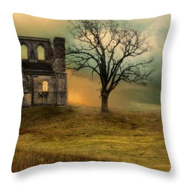 Church Ruin With Stormy Skies Throw Pillow