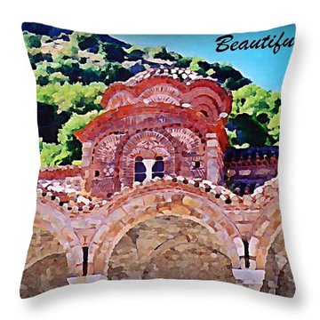 Church Ruins In Greece Throw Pillow by John Malone