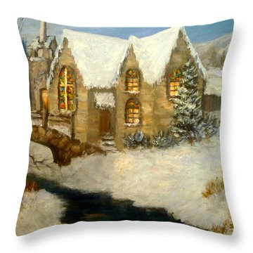 Church Snow Paintings Throw Pillow