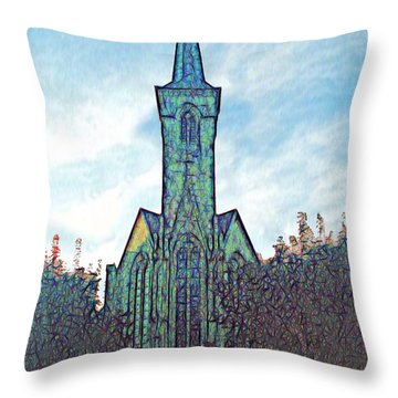 Church Steeple At Sunrise Throw Pillow