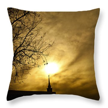 Throw Pillow featuring the photograph Church Steeple Clouds Parting by Jerry Cowart