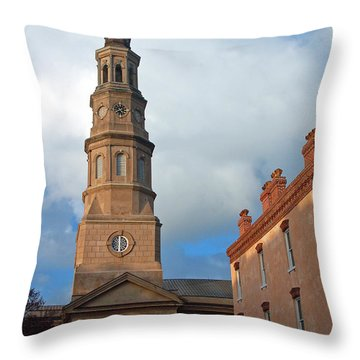 Church Street In Charleston Sc Throw Pillow by Suzanne Gaff