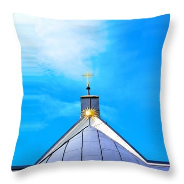 Church Top With Sun And Cross Throw Pillow by Tommytechno Sweden