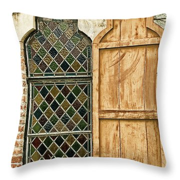 Throw Pillow featuring the photograph Church Window - Liberia Antigua by Gary Slawsky
