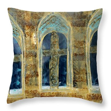 Church Windows Throw Pillow by Lesley Fletcher