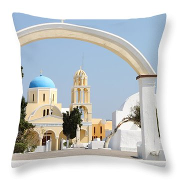 Churches Oia Santorini Greek Islands Throw Pillow by Carole-Anne Fooks