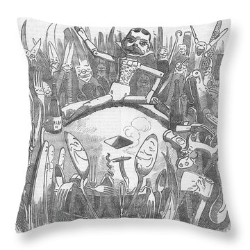 Churchill Lecturing Cartoon Throw Pillow