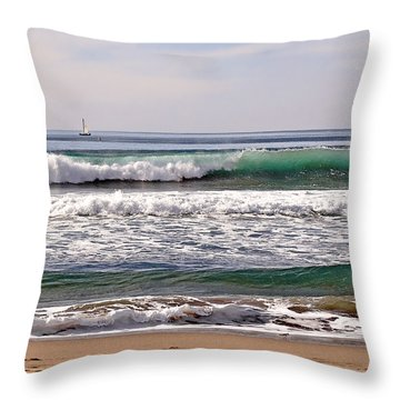 Churning Surf At Monterey Bay Throw Pillow by Susan Wiedmann