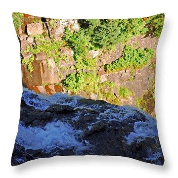 Churning Waters. Cliffs At Narada Falls Throw Pillow by Connie Fox