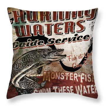 Churning Waters Sign Throw Pillow by JQ Licensing