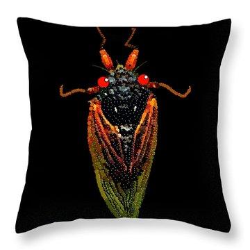 Throw Pillow featuring the digital art Cicada In Black by R  Allen Swezey