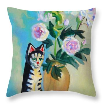 Throw Pillow featuring the painting Cicero With Flowers by Dan Redmon