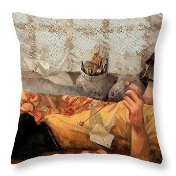 Cicogna Da Passeggio Throw Pillow by Guido Borelli