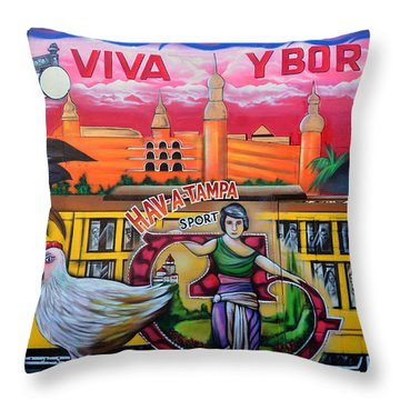 Cigar City Street Mural Throw Pillow by David Lee Thompson