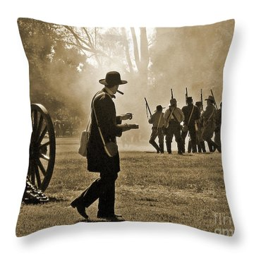 Cigar Man - U.s. Civil War Reenact Throw Pillow by Cheryl Del Toro