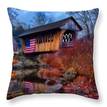 Cilleyville Covered Bridge Throw Pillow by Jeff Folger