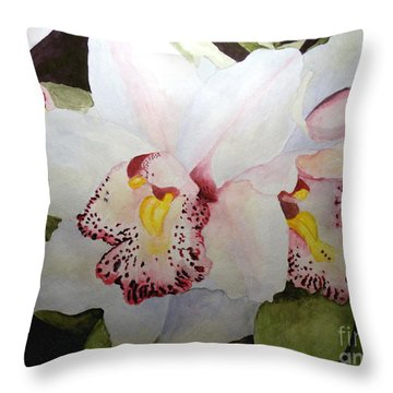 Cimbidium Orchid Throw Pillow