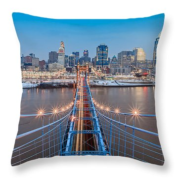 Cincinnati From On Top Of The Bridge Throw Pillow