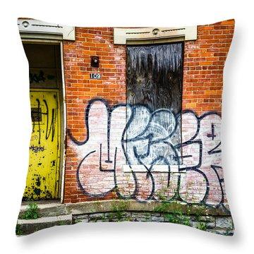 Cincinnati Glencoe Auburn Place Graffiti Picture Throw Pillow by Paul Velgos