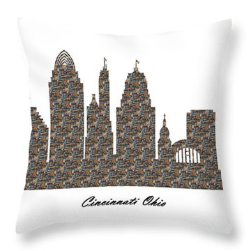 Cincinnati Ohio 3d Stone Wall Skyline Throw Pillow