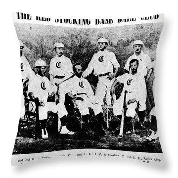 Cincinnati Red Stocking Baseball Team Throw Pillow