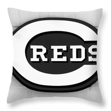Cincinnati Reds Sign Black And White Picture Throw Pillow by Paul Velgos
