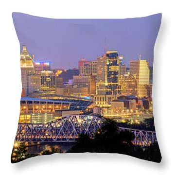 Throw Pillow featuring the photograph Cincinnati Skyline At Dusk Sunset Color Panorama Ohio by Jon Holiday