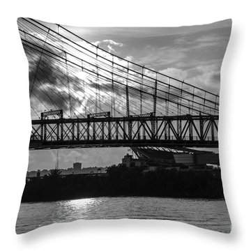 Cincinnati Suspension Bridge Black And White Throw Pillow by Mary Carol Story