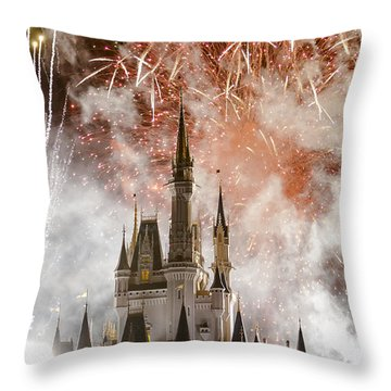 Magic Kingdom Castle Firework Finale Throw Pillow