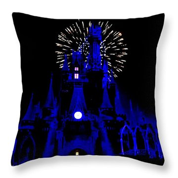 Cinderella Castle Fireworks Throw Pillow by Benjamin Yeager