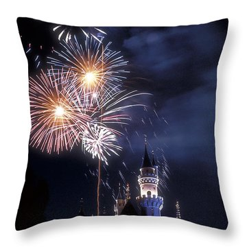 Cinderella Castle Fireworks Iconic Fairy-tale Fortress Fantasyland Throw Pillow by David Zanzinger