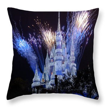 Magic Kingdom Castle Frozen Blue Throw Pillow